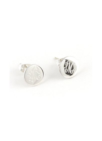 Personalized Round Sterling Silver Earrings - Wedding Gifts & Decorations