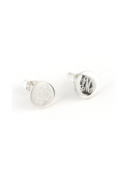 Personalized Round Sterling Silver Earrings E109