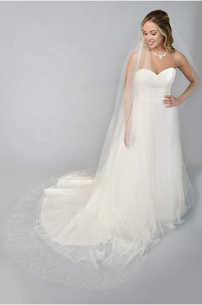 Filigree-Beaded Scalloped-Edge Cathedral Veil - A filigree spray of sequins and beads adds