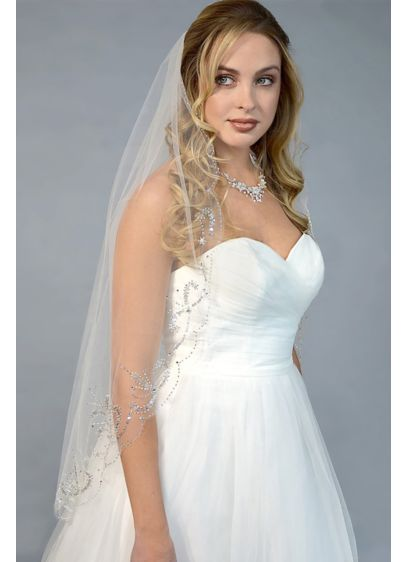 Filigree-Beaded Scalloped-Edge Fingertip Veil - Wedding Accessories