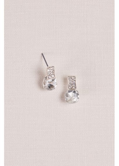 Pave and Solitaire Post Earrings E16011115