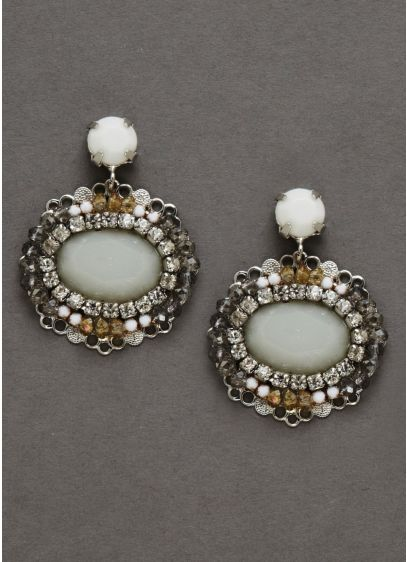 Opaque Stone Multi Colored Earrings - Wedding Accessories