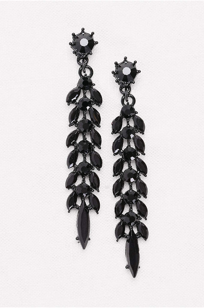 Linear Leaf Crystal Drop Earrings - With the look of jet beads, these faceted