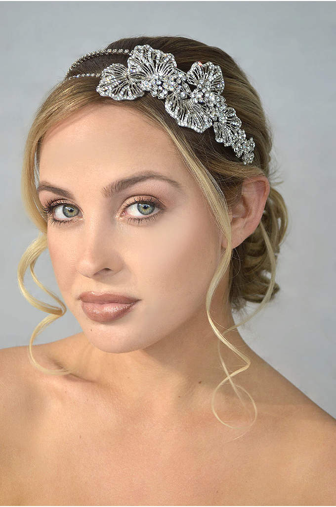 Crystal Double Headband with Side Flower Detail - Rhodium-finished petals and a crystal-encrusted double band add
