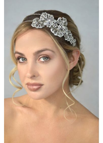 Crystal Double Headband with Side Flower Detail - Wedding Accessories