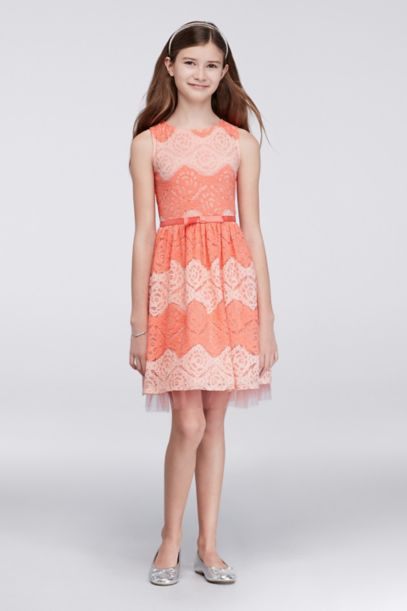 Two-Tone Lace Party Dress with Satin Bow Waist - Davids Bridal