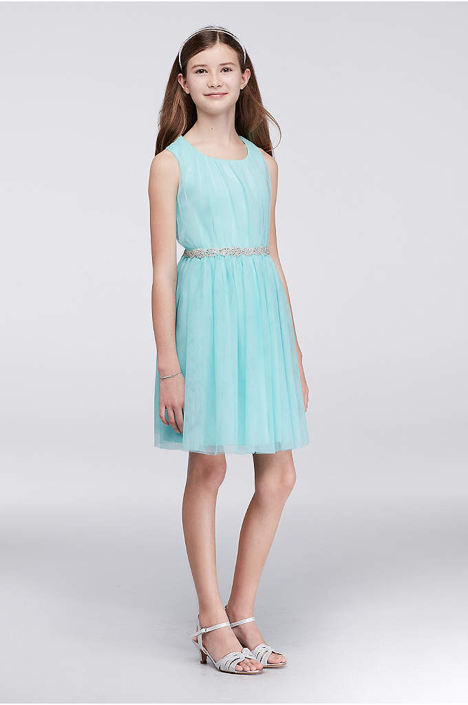 Pleated Tulle Party Dress with Jeweled Sash - Light, airy, and made for twirling, this pleated