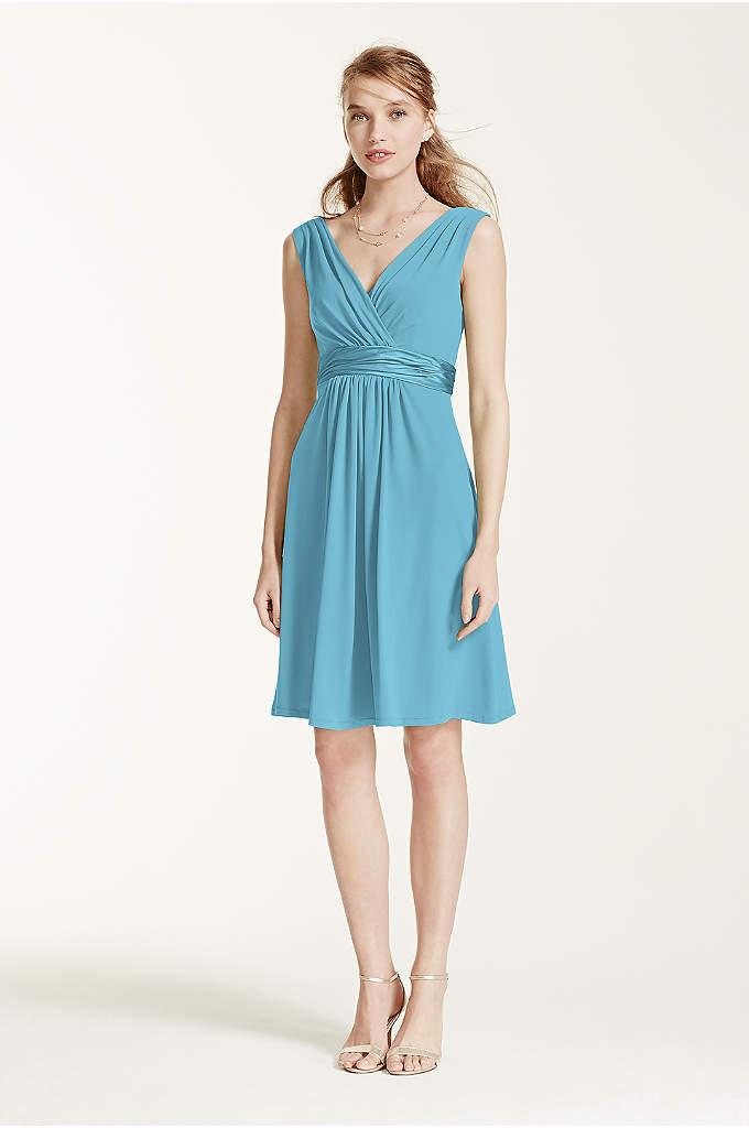 Sleeveless Jersey Dress with Charmeuse Waist Band