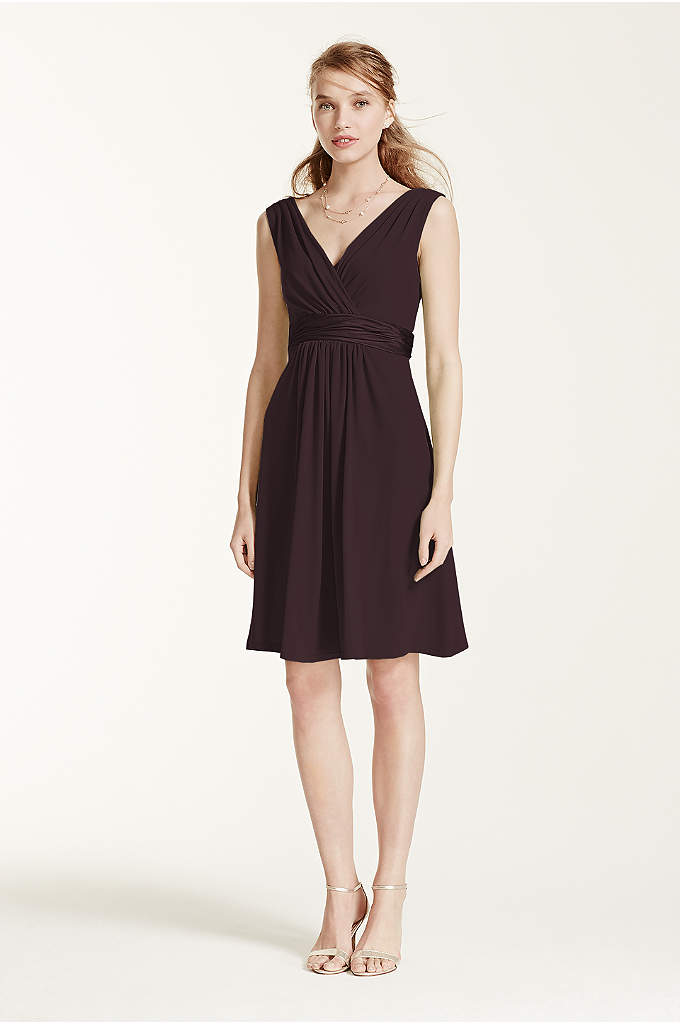 Sleeveless Jersey Dress with Charmeuse Waist Band