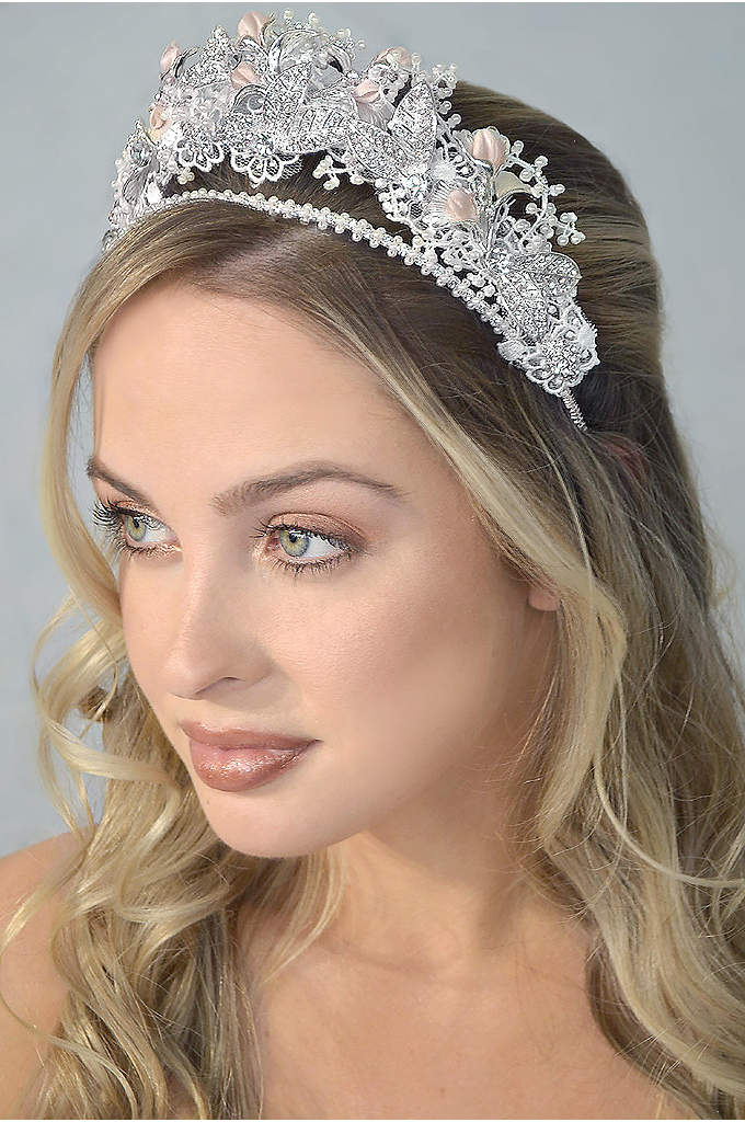 Crystal and Blush Flower Tiara - Add a touch of blush and pretty sparkle