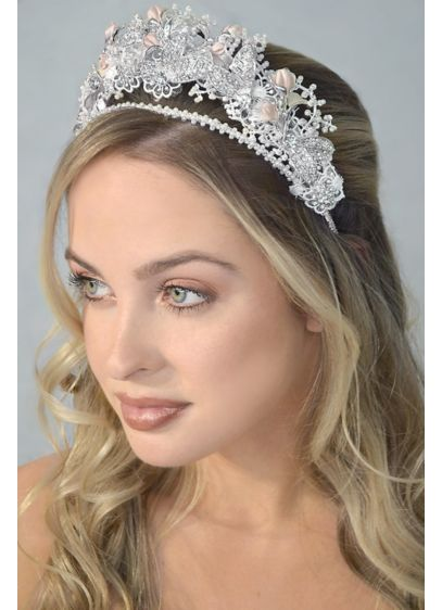 Crystal and Blush Flower Tiara - Wedding Accessories
