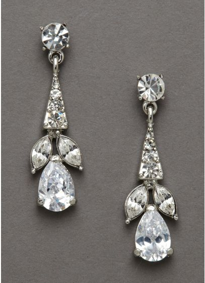 Crystal Earrings with Pear Shaped Stones - Wedding Accessories