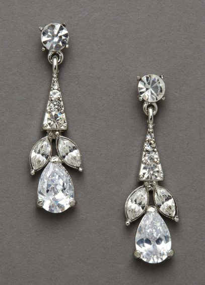 Crystal Earrings with Pear Shaped Stones E9036