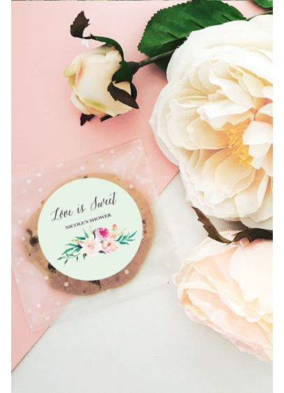 Personalized Floral Garden Round Labels - Wedding Gifts & Decorations