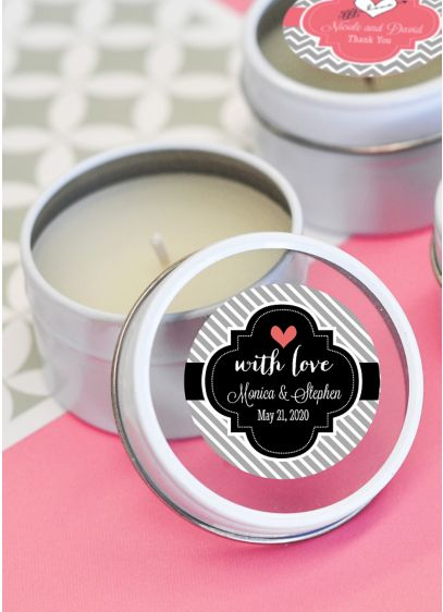 Personalized Theme Round Candle Tins - Wedding Gifts & Decorations