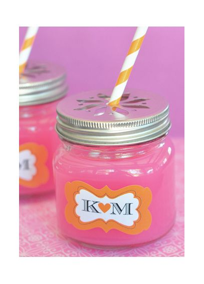 Personalized Mason Drinking Jar with Flower Lid EB2311P
