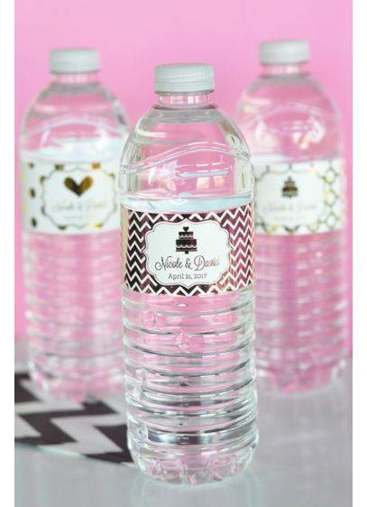 Personalized Metallic Foil Water Bottle Labels - Wedding Gifts & Decorations