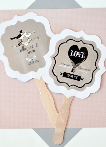 Personalized Vintage Wedding Paddle Fans EB2354WV