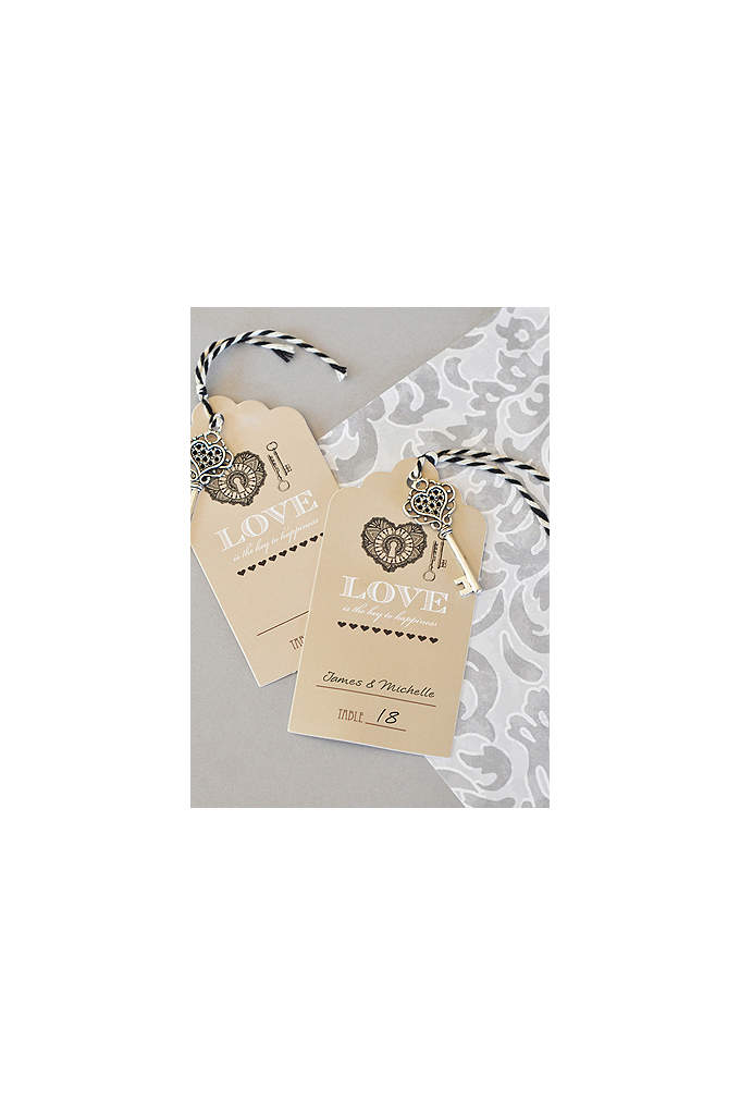 Key to Happiness Escort Card - Seat guests at your vintage wedding with these