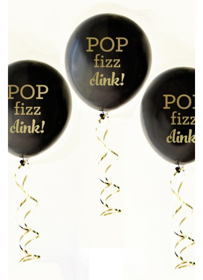 Black and Gold Pop Fizz Clink Balloons Set of 3 - Wedding Gifts & Decorations