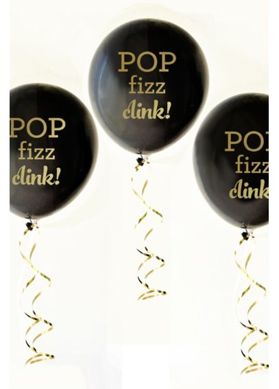 Black and Gold Pop Fizz Clink Balloons Set of 3 EB3110PFC