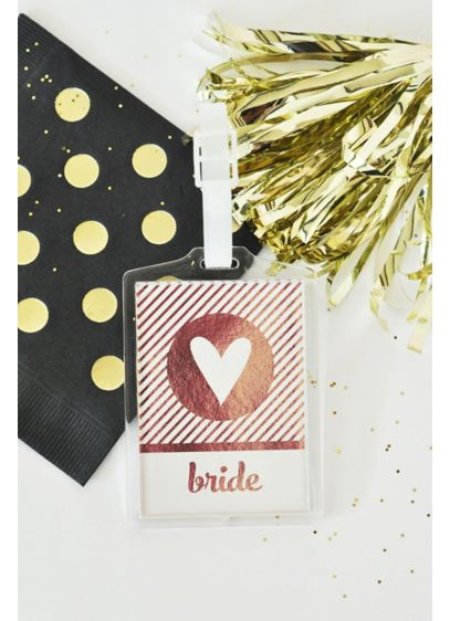 Personalized Metallic Foil Luggage Tags Set of 4 - Wedding Gifts & Decorations