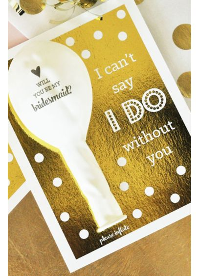 Will You Be My Bridesmaid Balloon Card Set of 4 - Wedding Gifts & Decorations
