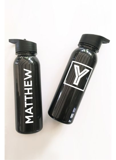 Personalized White and Black Sports Bottle - Wedding Gifts & Decorations