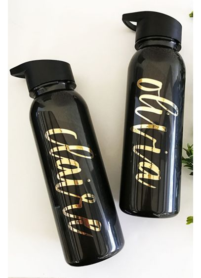 Personalized Gold and Black Sports Bottle - Wedding Gifts & Decorations