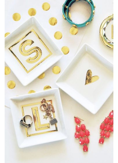 Personalized White and Gold Monogram Ring Dish - Wedding Gifts & Decorations