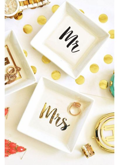 Mr and Mrs White Ring Dish - Wedding Gifts & Decorations