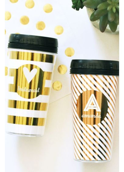 Personalized Metallic Gold Travel Coffee Mug - Wedding Gifts & Decorations