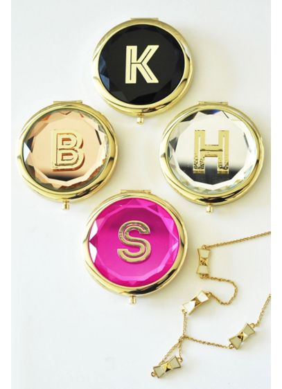 Personalized Gold Monogram Compact Mirror - Wedding Gifts & Decorations