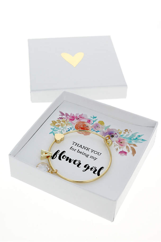 Personalized Gold Floral Flower Girl Bracelet - Gold Monogram Floral Flower Girl Bracelet features a