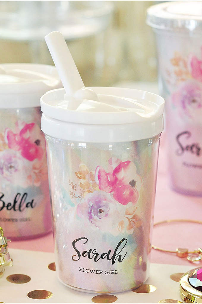 Personalized Flower Girl Sippy Cup - Each Personalized Flower Girl Sippy Cup has a