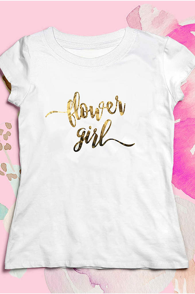 Gold Script Flower Girl Tee - Each Flower Girl Shirt is made of soft