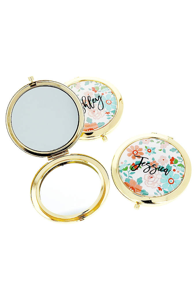 Personalized Exclusive Floral Compact Mirrors - Personalized Exclusive Floral Compact Mirrors are a unique