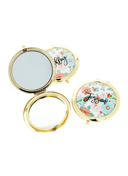 Personalized Exclusive Floral Compact Mirrors - Wedding Gifts & Decorations