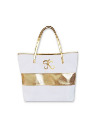 Personalized Monogram Gold Striped Tote Bag - Wedding Gifts & Decorations
