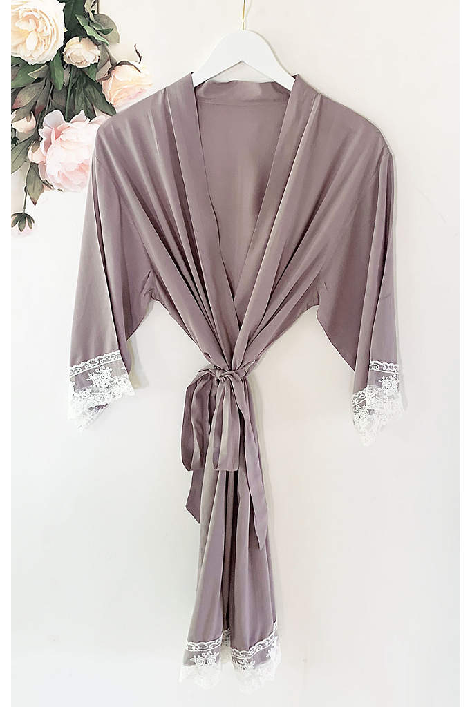 Bridesmaid Rayon Robe With Lace Trim - The Bridesmaid Cotton Robe With Lace Trim ia