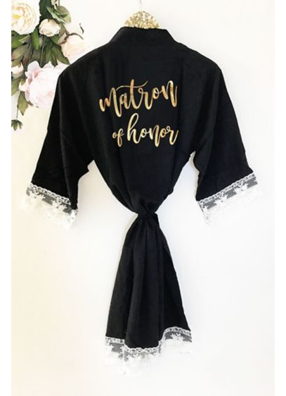Matron of Honor Cotton Robe With Lace Trim - Wedding Gifts & Decorations