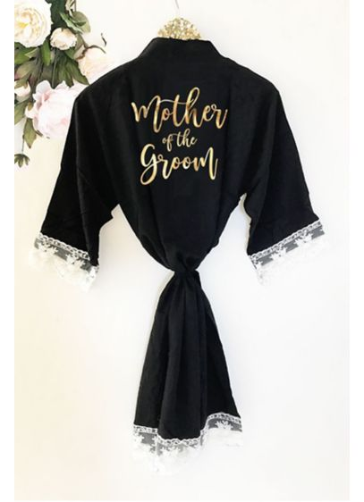 Mother of the Groom Cotton Robe With Lace Trim - Wedding Gifts & Decorations