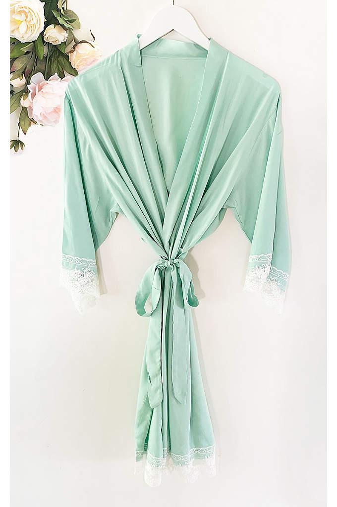 Personalized Monogram Cotton Lace Robe - The Personalized Monogram Cotton Lace Robes are a