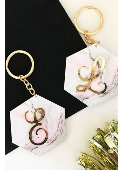 Personalized Pink Marble Monogram Keychain - Wedding Gifts & Decorations