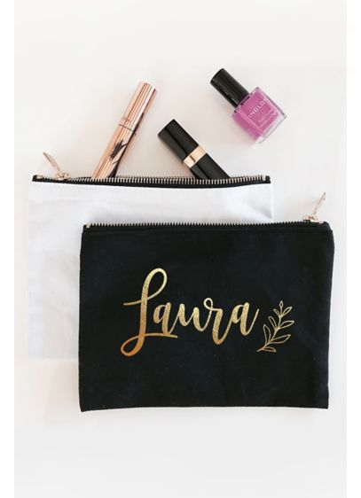 Personalized Leaf Canvas Cosmetic Bag - Wedding Gifts & Decorations