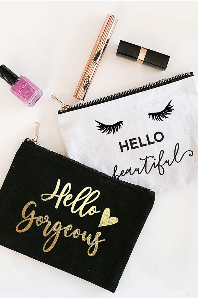 Hello Theme Canvas Cosmetic Bag - The Hello Themed Canvas Cosmetic Bags are a