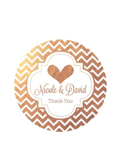 Personalized Metallic Foil Round Favor Labels - Wedding Gifts & Decorations