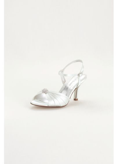 Dyeable Satin Pleated Shoe with Ornament ECLAIREWHITE