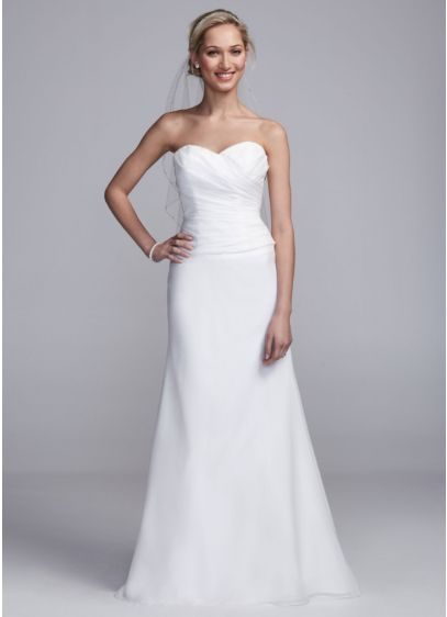 Strapless satin sheath gown with side drape davids bridal for Sheath wedding dress with beading and side drape