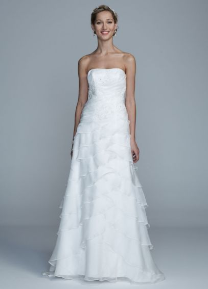 Strapless Organza A Line Gown with Tiered Skirt ECX31961